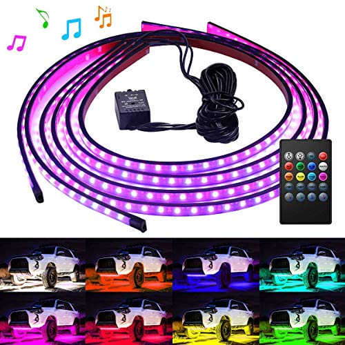 (Govee Car Underglow Lights, 4 Pcs Led Strip Car Lights, 8 Color Neon Accent Lights Strip, Sync to Music, Wireless Remote Control 5050 RGB LED Strip Lights with Cable Tie & Screw)