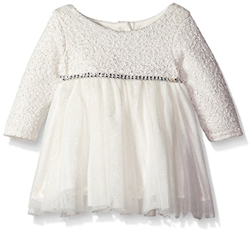 Youngland Baby Girls' Sparkle Texture Knit Ballerina Dress, Ivory, 3-6 Months