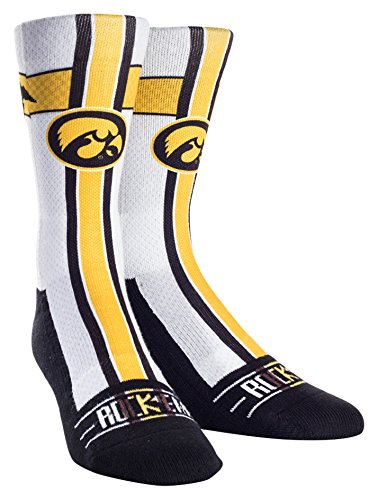 NCAA Iowa Hawkeyes Custom Athletic Crew Socks, Jersey Series-White, Youth