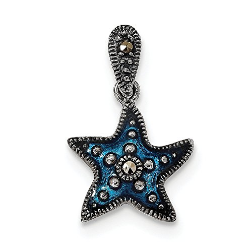 Q Gold Jewelry Pendants & Charms Themed Charms Sterling Silver Antiqued Blue Epoxy and Marcasite Star Pendant