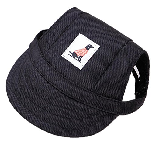YJYdada Dog Hat, Dog Hat with Ear Holes Summer Canvas Baseball Cap for Small Pet Dog Outdoor (M, Black)