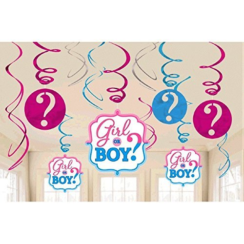 - Girl or Boy Gender Reveal Neutral Unisex Baby Shower Party Foil Hanging Swirl Decorations / Spiral Ornaments (12 PCS)- Party Supply, Baby Shower Par