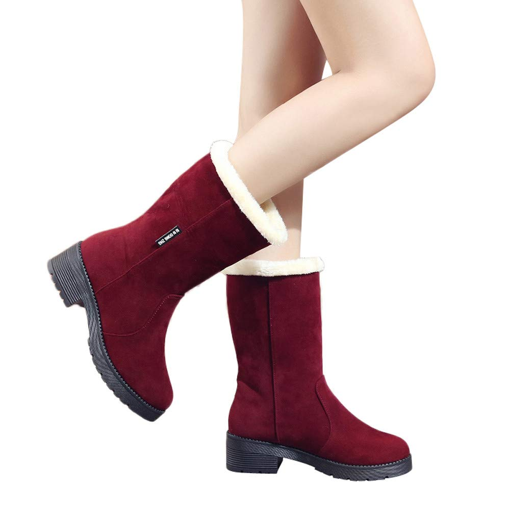 Winter Women's Round Head Shoes, Affordable!Casual Solid Color Non-Slip Suede Thicken Thick Heel Women's Boots Snow Boots Affordable!Casual Solid Color Non-Slip Suede Thicken Thick Heel Women' s Boots Snow Boots 21 19