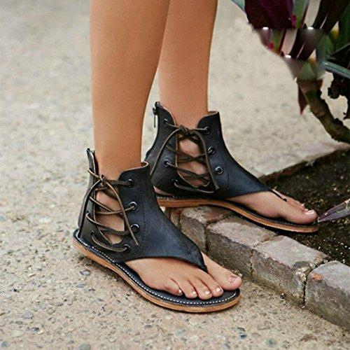 Le Donne Calde Di Vendita Del Amille Pizzicano I Sandali Romani A Fondo Piatto I Sandali Con Il Cinturino Casuali Delle Cinghie Dei Cinturini Della Caviglia Tirano Le Scarpe Da Spiaggia Nere