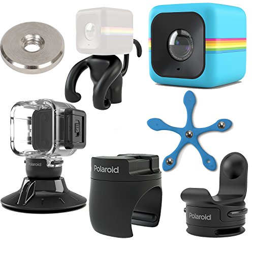 Polaroid Cube ACT II HD 1080p Lifestyle Action Video Camera (Blue) Gift Bundle + Waterproof Case + Suction Mount + Flexi Pod Mount + Magnet Adapter + Monkey Stand + Bike Mount + Strap Mount by Polaroid