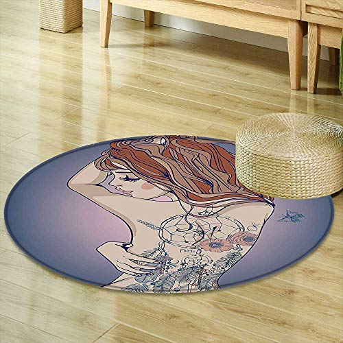 Mikihome Non Slip Round Rugs Girly Decor Collection Sexy Woman Posing with Tribal Dreamcatcher Tattoos on Her Back Nudity Human Body Graphic Work Multi Decor Oriental Floor and Carpets -