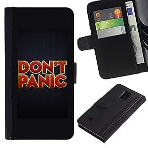 Paccase / Billetera de Cuero Caso del tirón Titular de la tarjeta Carcasa Funda para - Don'T Panic Red Gold Red Text Poster - Samsung Galaxy Note 4 SM-N910