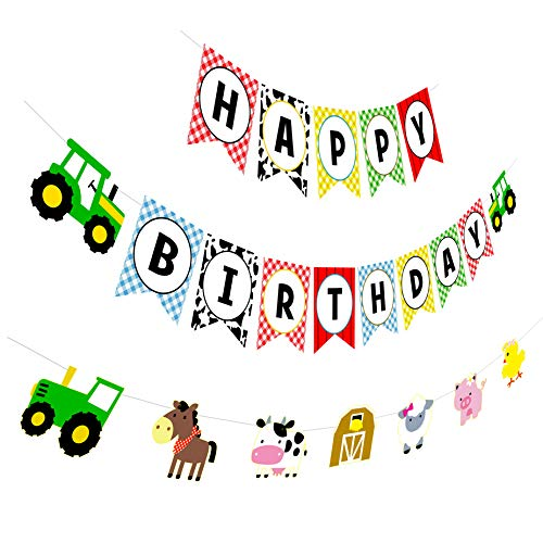 Farm Birthday Banner, Tractor Happy Birthday Sign with Animal Garland, Rustic Bday Party Decorations]()