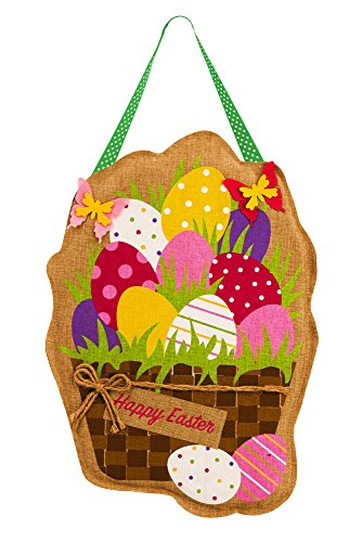 Evergreen Easter Eggs in Basket Burlap Door Decor