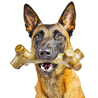 Pet Qwerks BarkBone Peanut Butter Chew Stick - Durable Dog Bones for Aggressive Chewers, Tough Extreme Power Chewer Toys | Made in USA- X Large for Large Breed Dogs,