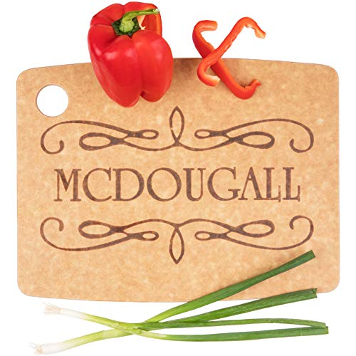Personalized Cutting Board Wedding Gift - Durable, Natural Wood Fiber (Scroll)