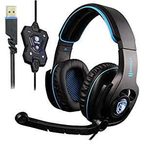 SADES 50mm Super Bass Speaker Headphones 7.1 Surround Stereo Sound PC Gaming Headset with Mic and Breathy Light(Hammer)