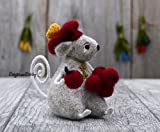 Mouse with Berries Needle Felting Grey Mice Happy Birthday Gift Felted Animal Wool Rat Soft Sculpture Fiber Art