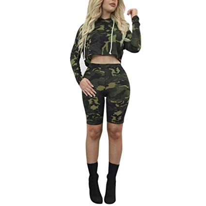 b124251e49 GBSELL 2PC Womens Girl Long Sleeve Camouflage Crop Top Hoodie + Pants Sport  Casual Set (