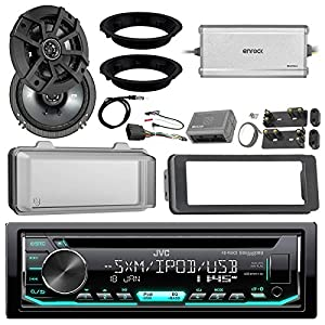 "JVC KDR690S CD Receiver Bundle/2 Kicker 6.5"" Speaker + Motorcycle Speaker Adapters + Amplifier + Dash Kit W/Radio Cover + Handle Bar Conrol for 98-2013 Harley Davidson + Enrock Antenna"