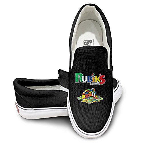 Boogie Shoes Dance Costumes (Amazing!! Melting 3-D Rubiks Cube Mirror Slip On Sneaker Street Dance Color Black Size 40)