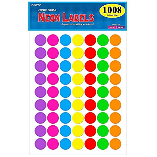 Pack of 1008 1 inch diameter round color coding dot labels 7 bright neon colors 8 1 2 x 11 sheet fits all laser inkjet printers 63 labels per sheet