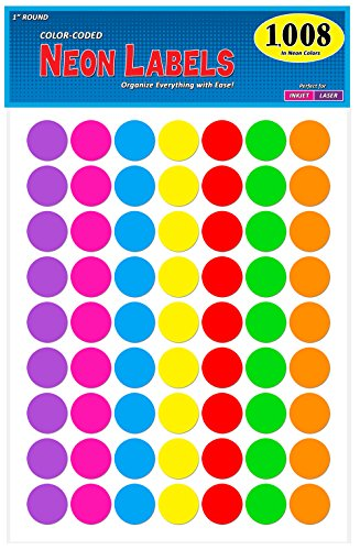 (Pack of 1008 1-inch Diameter Round Color Coding Dot Labels, 7 Bright Neon Colors, 8 1/2