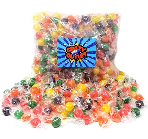 - CrazyOutlet Pack - Assorted Sour Fruit Flavored Primrose Hard Candy Balls, Orange, Grape, Lemon, Lime and Cherry Flavored Hard Candies, Individually Wrapped, Bulk Pack, 2 lbs