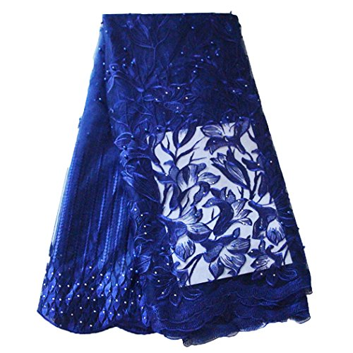 African Lace Fabric Nigerian French Lace Net Fabric Embroidered Fabric for Wedding Party ZS728(Royal - French Tulle