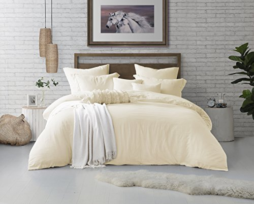 Swift Home Microfiber Washed Crinkle Duvet Cover & Sham (1 Duvet Cover with Zipper Closure & 2 Pillow Shams), Premium Hotel Quality Bed Set, Ultra-Soft & Hypoallergenic – King/Cal King, ()