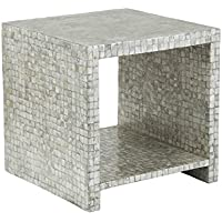 East at Main Sanford Silver Capiz Square Storage Accent Table, (19x19x19)