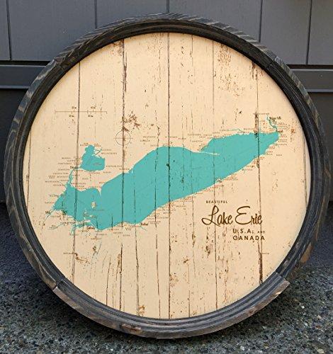 Lake Erie Map Barrel End by LakeboundShop