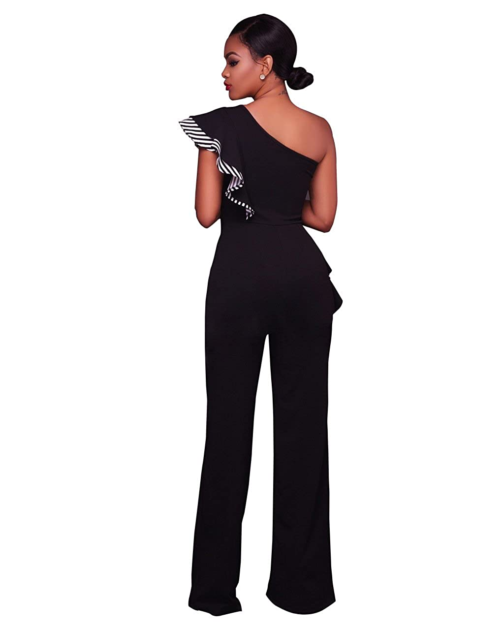 799d40dbfc Amazon.com  VERTTEE Women s Sexy One Shoulder Ruffle Asymmetric Falbala  High Waist Wide Leg Long Pants Jumpsuit Rompers Black S  Clothing