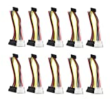 Antrader 7 Inch 4 Pin Molex to SATA Power Cable Adapter Pack of 20