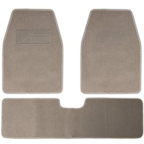 OxGord Weather Resistant 3pc Carpet Floor Mat Set For Trucks, Vans, and SUVs Beige - Country Van Carpet