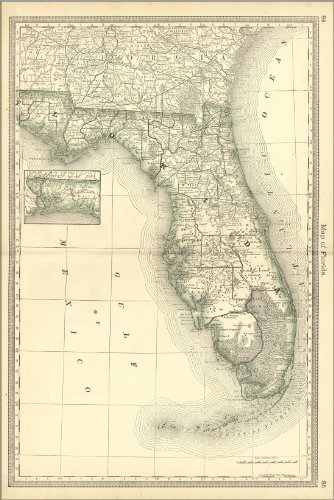 24x36 Poster; Map Of Florida 1881; Antique Reprint by Welsh Printing