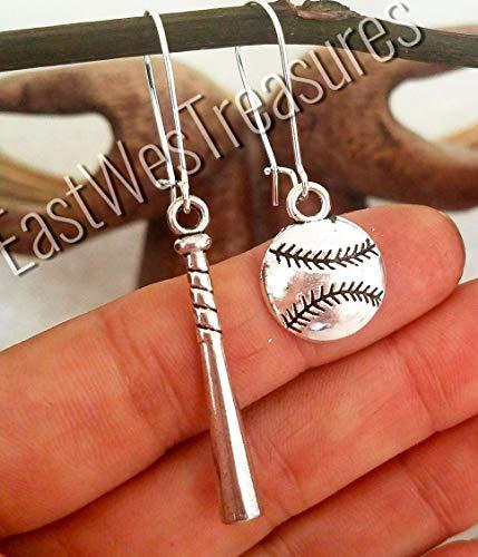 (Silver steel baseball bat and ball Dangle drop earrings for women her-baseball jewelry)