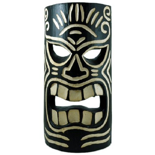 amazon com carved black white tiki mask large home kitchen