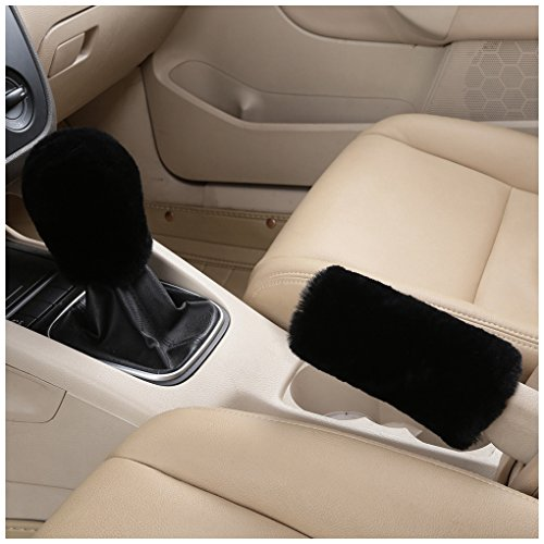 Dotesy Genuine Sheepskin Auto Gear Shift Knob Cover Handbrake Cover Set - Soft Fluffy Pure Wool Car Interior Gear Shift Parking Break Cover Protector Sleeve, Black