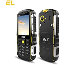 E&L S600 Rugged Unlocked Smartphone with IP68 Waterproof Dustproof 2G GSM Rugged Cell Phones Unlocked Outdoor Cellphone (Yellow)