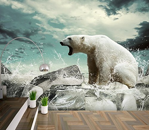 300cmX250cm Polar bear animal large mural living room aisle children room 3D wallpaper by ZLJTYN