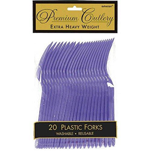 Amscan 8000.106 Tableware Premium Plastic Forks, One Size, New Purple