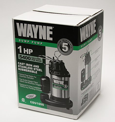 WAYNE CDU1000 1 HP Submersible Cast Iron and Stainless with Switch 58321-WYN2