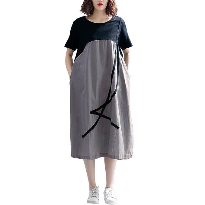 Vestido Suelto Talla Grande Mujer STRIR Moda Mujer Bolsillo Manga Larga Casual Loose Camiseta Vestido de