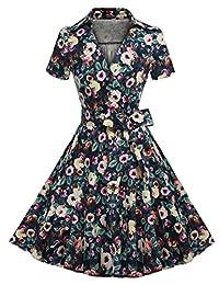 ACEVOG 50s 60s Vintage Short Sleeves Swing Rockabilly Full Circle Party Dress