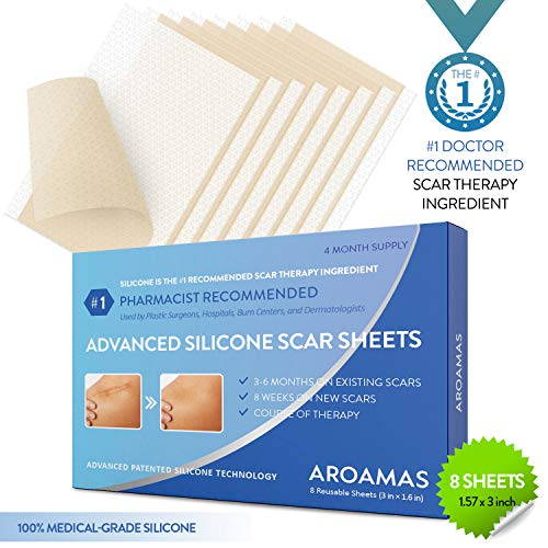 (Aroamas Professional Silicone Scar Sheets, Soften and Flattens Scars Resulting from Surgery, Injury, Burns, Acne, C-section and more, Soft Silicone Scar Strips, 3