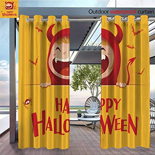 (QianHe Outdoor Privacy Curtain for Pergola Happy-Halloween-Red-Devil-Demon-with-Big-Signboard-Yellow-Background-.jpg Thermal Insulated Water Repellent Drape for Balcony W108 x)