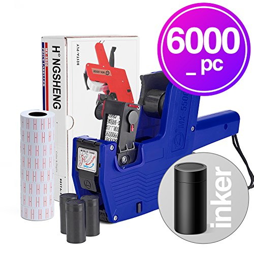 Syntrific Mx5500 8 Digits Price Tag Gun Labeler Labeller Included 6000 PC Labels & 3 Pack Ink Refill (Blue) ()