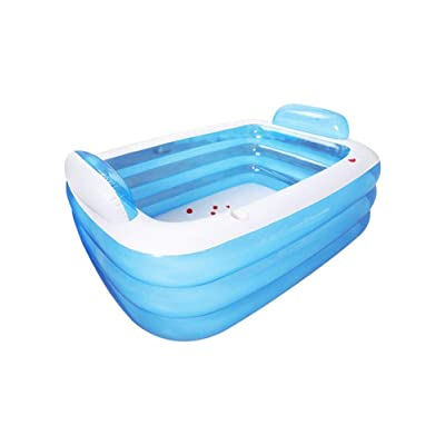 likeitwell Inflatable Pool,Backrest Bathtub,Toddler and Baby Pool,Blow Up Family Pool for Kids, Toddlers & Adult, Swim Center for Ages 3+, Blue: Sports & Outdoors
