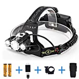 Led Headlamp Rechargeable, CrazyFire Bright Led Headlamp Rechargeable Head Torch 4 Modes Bicycle Front Light with 2pcs 18650 Batteries and Charger