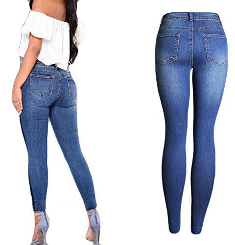 Pantalons Bleu Jeans Pants Paneled taille Skinny Fille Stretchy Haute Denim Femmes Bodycon broderie 7AvpO