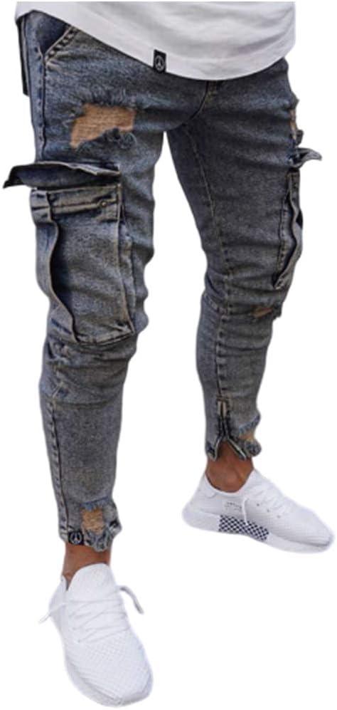 メンズジーンズの穴ジーンズファッションはタイトな鉛筆のジーンズ弾性パッチワークポケットジーンズのヒップホップ,b,L