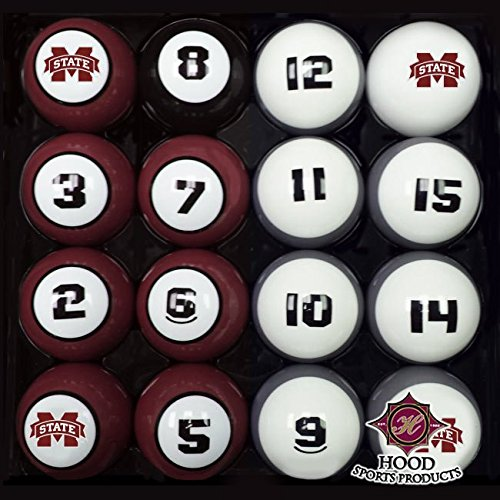 MSU MISSISSIPPI STATE BULLDOGS NCAA Collegiate Billiards Pool Balls Sets College Mississippi State Bulldogs Pool