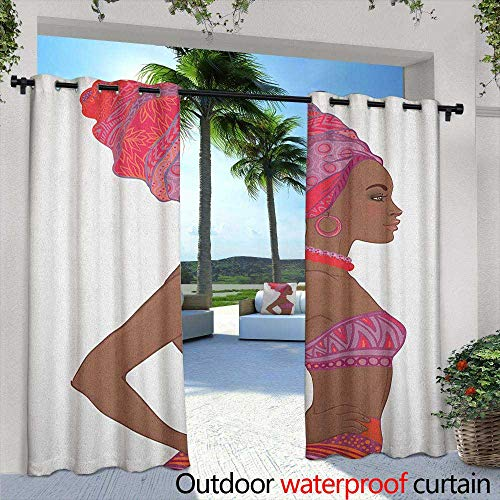 Marilds African Woman Outdoor Blackout Curtain Beautiful Zulu Woman with Sexy Bandage Dress Necklace Female Room Darkening Thermal 72