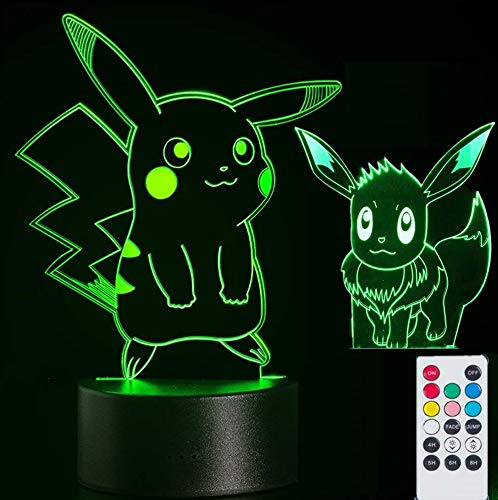 2-in-1 Pikachu & Eevee 3D Lamps Nightlight for Kids,7 Colors Touch Switch & Remote Control Table Desk Lamps Holiday Xmas Gifts Room Decor for Nursery Baby Toddler (Tesco's Christmas Lights)